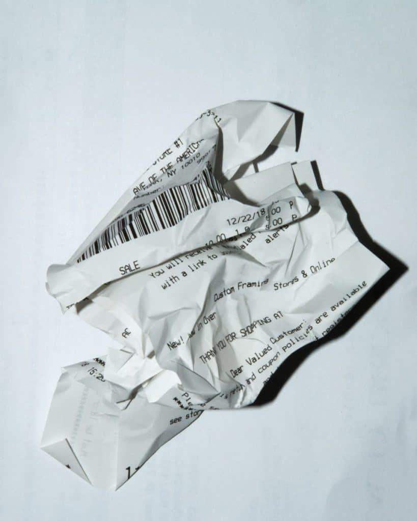 scrunched receipt
