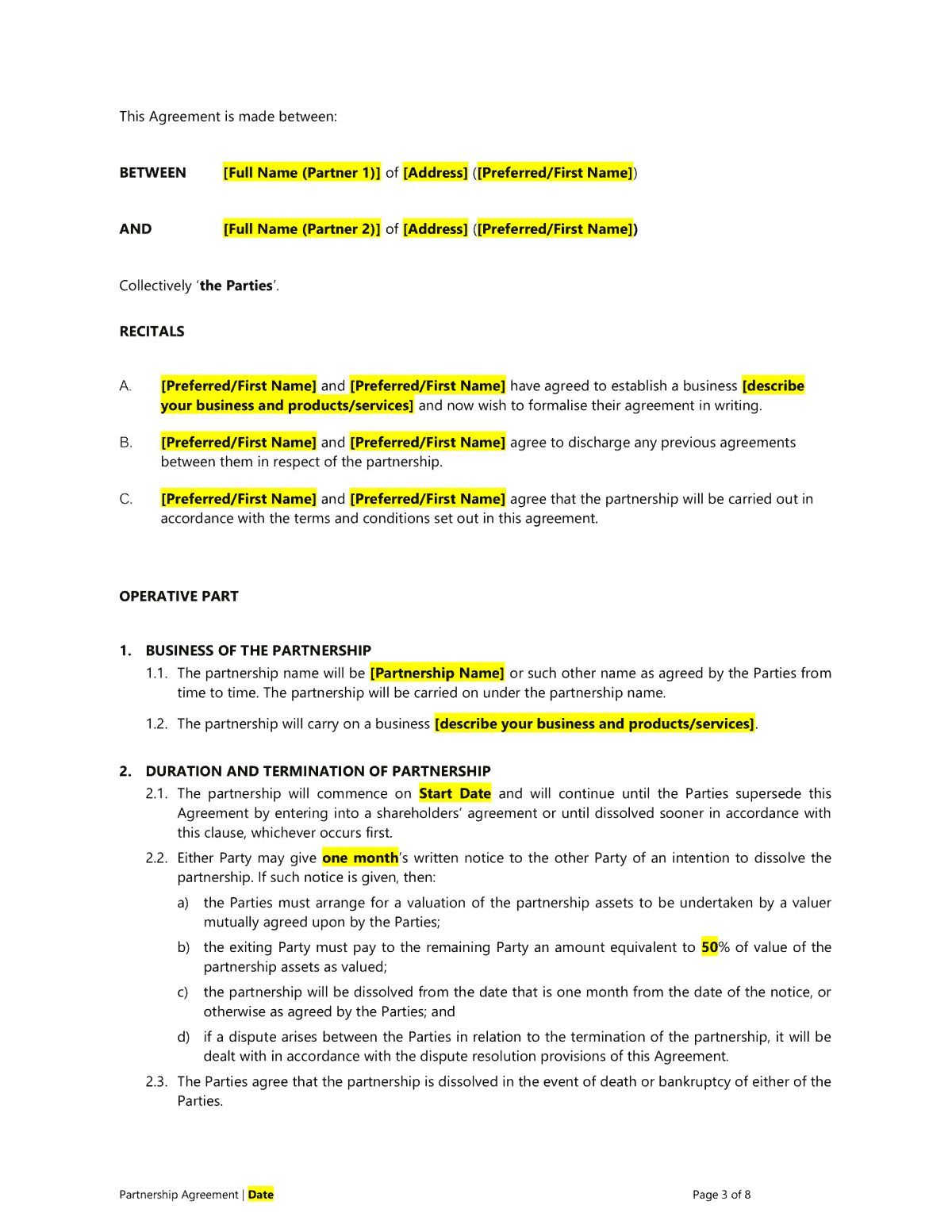 Partnership Agreement Template Easy Legal Templates