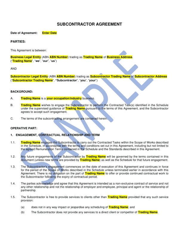 Sub Contractor Agreement template 1