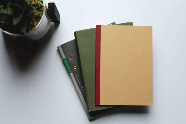 brown folder on white table